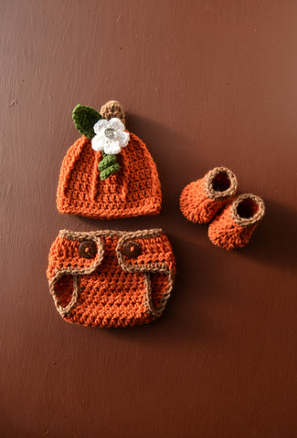 Newborn Baby Crochet Pumpkin Outfit for Photo Prop Crochet Baby Halloween Costume - kgphotoprops