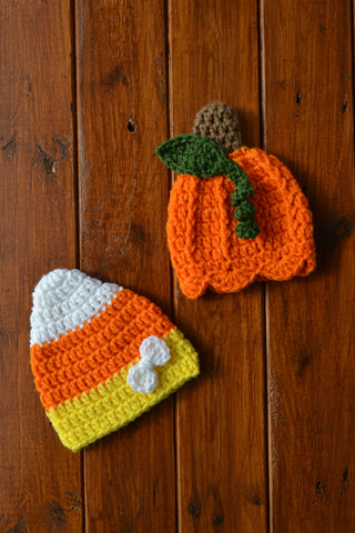 Twin Newborn Baby Girl Crochet Halloween Hats Newborn Halloween Photo Prop - kgphotoprops