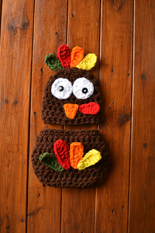 Brown Baby Crochet Turkey Outfit Newborn Boy Photo Outfit Baby Photography Prop - kgphotoprops