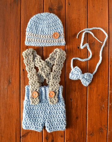 Crochet Overalls and Beanie Set for Photo Prop