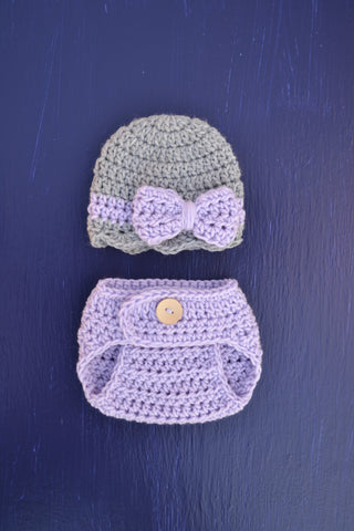 Copy of Lilac Gray Crochet Newborn Baby Girl Hat and Diaper Set Photography Props - kgphotoprops