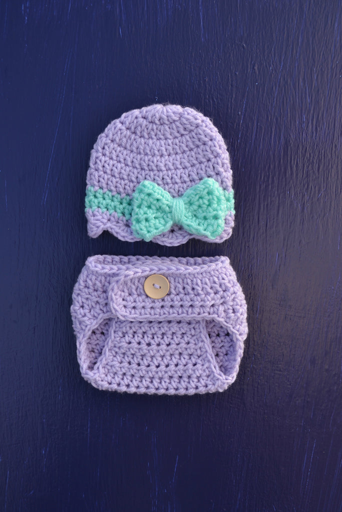 Newborn Baby Girl Crochet Hat and Diaper Set For Photo Prop - kgphotoprops