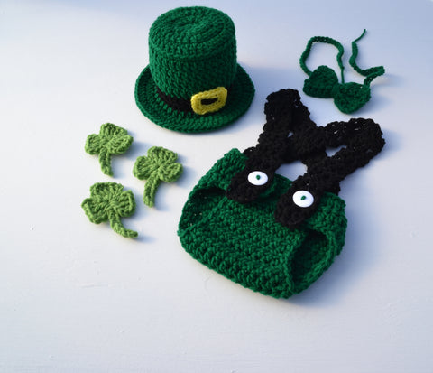 Crochet Baby St Patrick's Day Outfit Crochet Leprechaun Hat Diaper Cover and Booties Set for Photography Prop