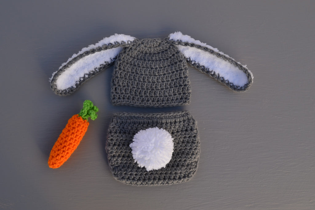 Crochet Newborn Baby Bunny Outfit for Photo Prop