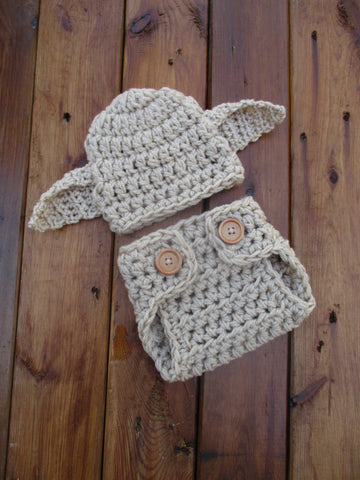 Crochet Baby Dobby Hat And Diaper Cover Outfit Costume Newborn Photo Prop - kgphotoprops