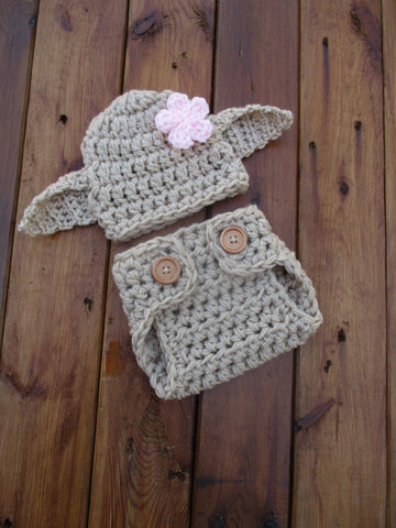 Crochet Dobby Girl Costume Tan Newborn Baby Photo Prop - kgphotoprops
