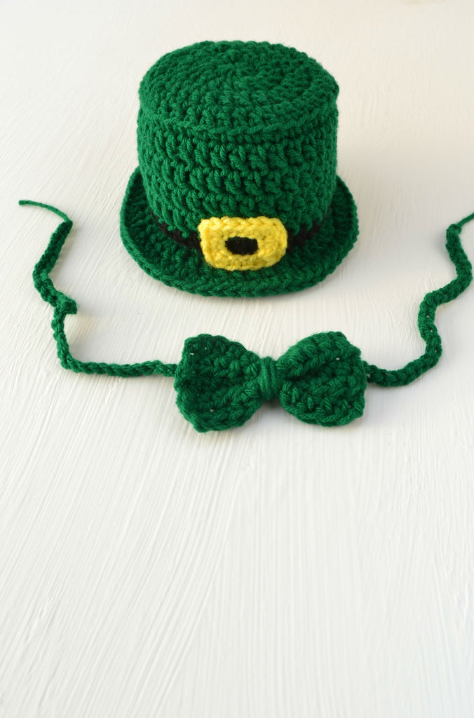 Crochet St. Patrick's Day Set Leprechaun Hat Bow Tie Handmade Newborn Photo Outfit Photography Prop - kgphotoprops