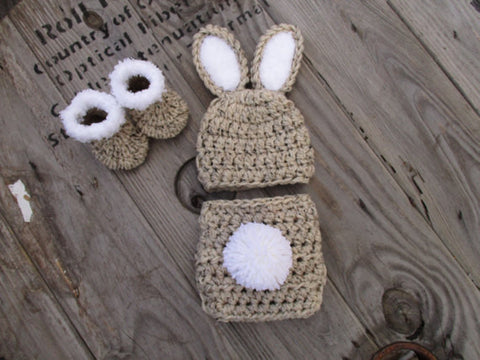 Oatmeal Newborn Bunny Outfit Baby Photo Prop - kgphotoprops