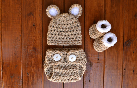 Oatmeal Crochet Baby Bear Outfit Newborn Boy Photo Outfit Photo Prop - kgphotoprops