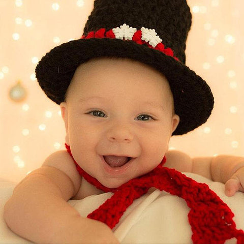 Newborn Baby Snowman Christmas Top Hat Boy Girl Photo Prop Baby Shower Gift - kgphotoprops