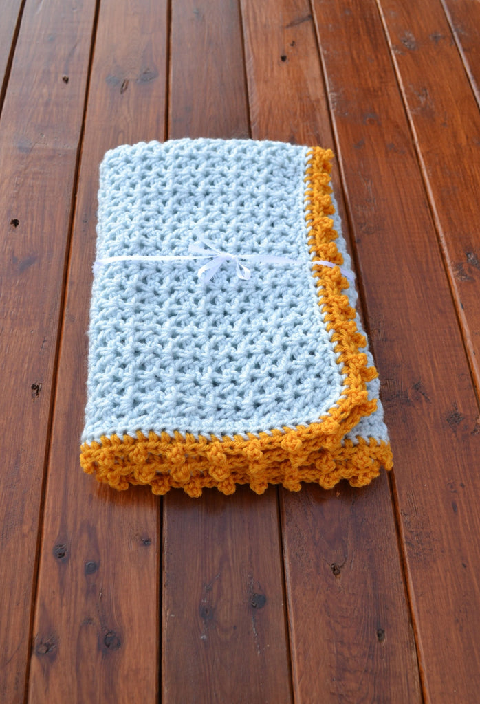 Crochet Baby Blue And Gold Blanket Newborn Photography Prop - kgphotoprops