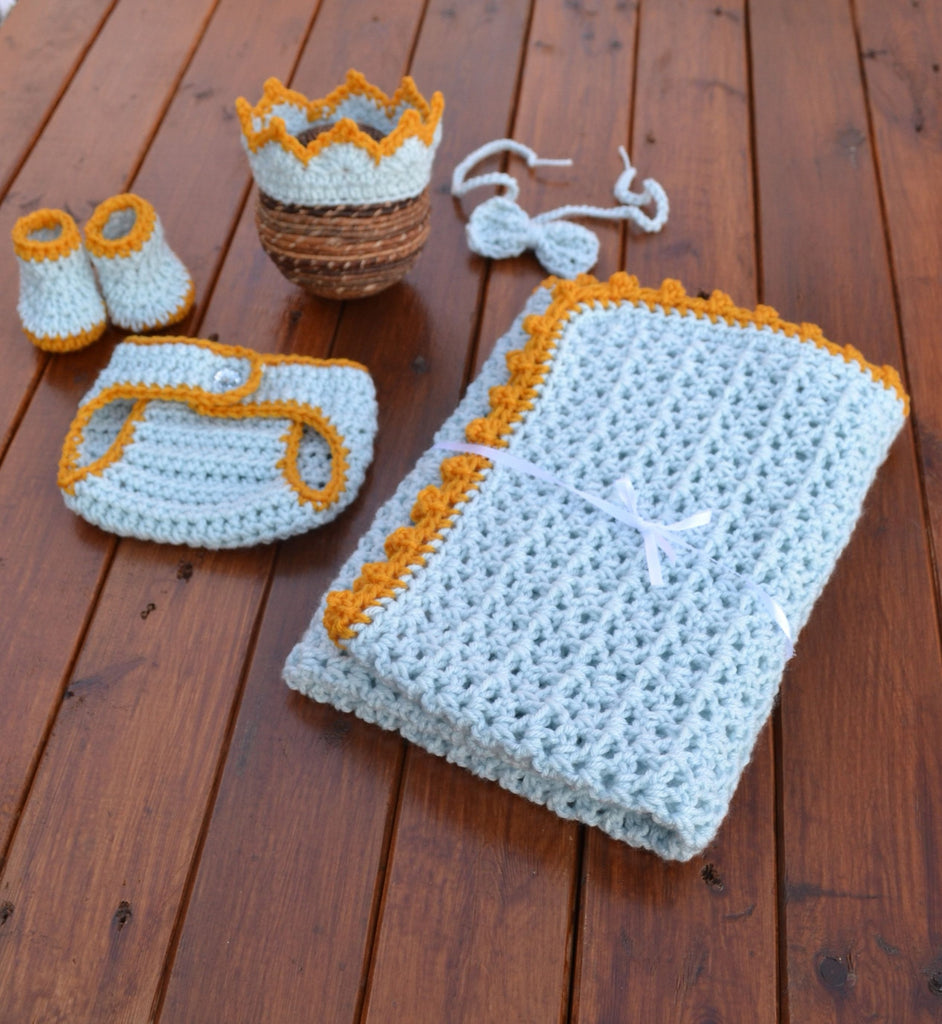 Baby Crochet Prince Outfit Newborn Photography Prop - kgphotoprops