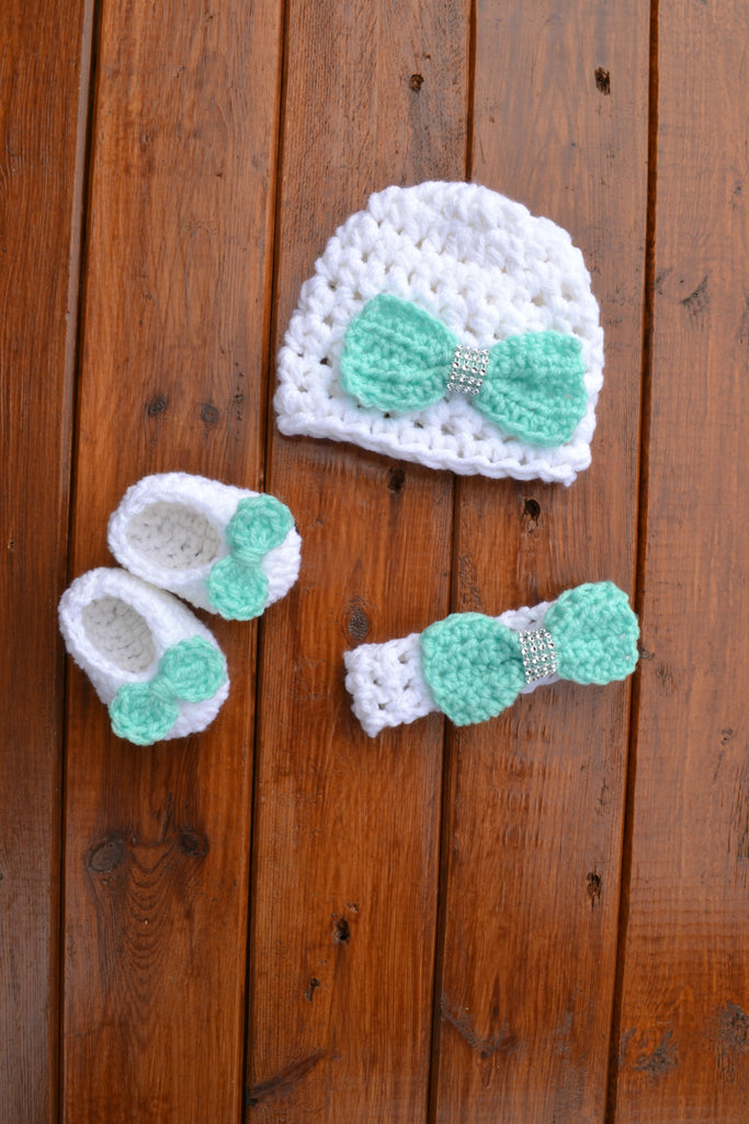 Crochet Baby Hat Beanie Headband And Shoes Newborn Photography Prop - kgphotoprops