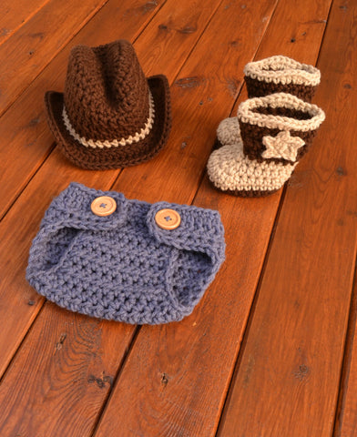 Crochet Newborn Cowboy Hat Boots and Diaper Cover Set
