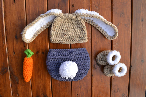 Crochet Newborn Baby Bunny Outfit For Photo Prop - kgphotoprops