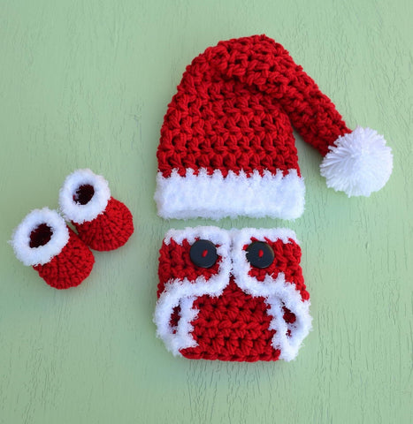 Crochet Baby Christmas Set For Photo Shoot