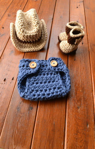 Newborn Baby Crochet Cowboy Hat Boots and Diaper Cover Set