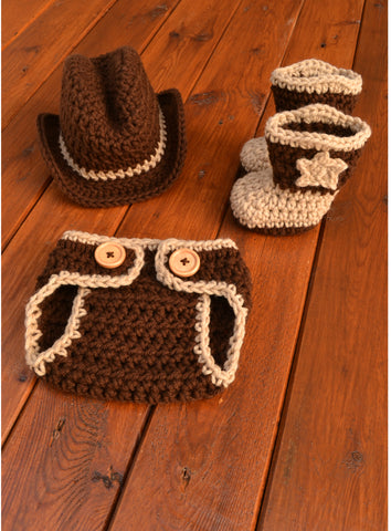 Crochet Baby Cowboy Outfit For Photo Shoot