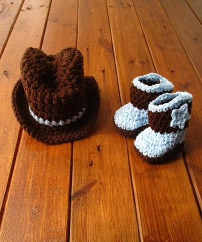 Crochet Baby Cowboy Hat And Boots Set Outfit Newborn Photo Prop - kgphotoprops