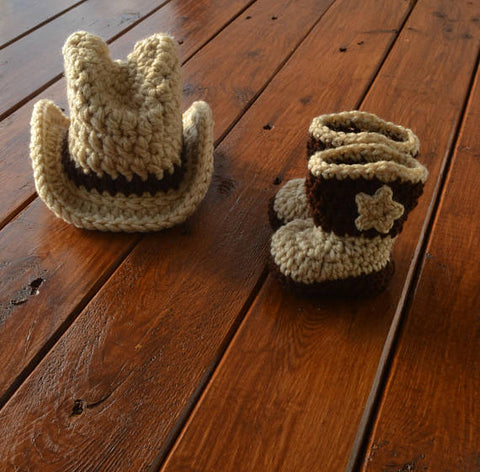 Baby Cowboy Hat and Boots Infant Newborn Baby Photography Prop - kgphotoprops