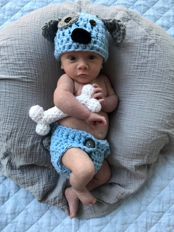 Crochet Baby Puppy Outfit Light Blue Newborn Boy Photo Prop Outfit - kgphotoprops