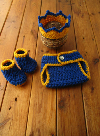 Baby Prince Crochet Outfit Royal Blue Newborn Photo Prop - kgphotoprops