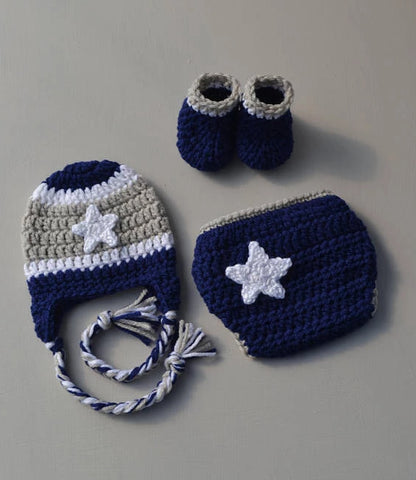 Crochet Dallas Cowboys Football Outfit Newborn Baby Photography Prop - kgphotoprops