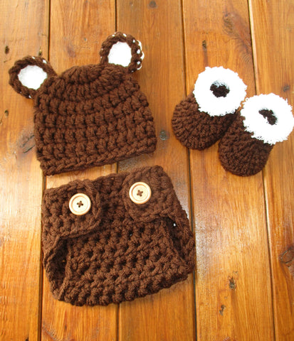 Brown Baby Crochet Bear Outfit Newborn Boy Photo Outfit Photography Photo - kgphotoprops