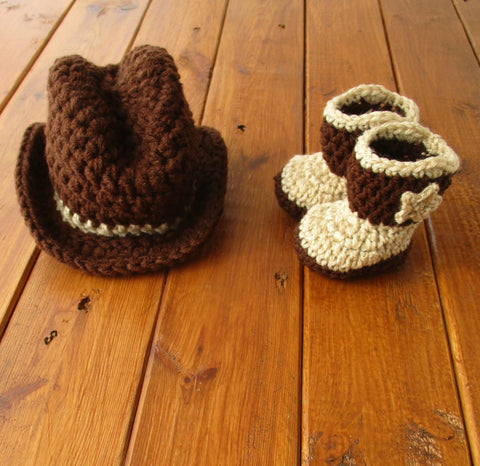 Brown Tan Baby Crochet Cowboy Set Newborn Baby Photography Prop - kgphotoprops