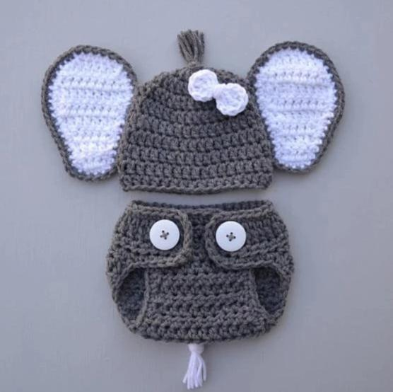 Crocheted Baby Elephant Outfit Newborn Baby Photo Props - kgphotoprops