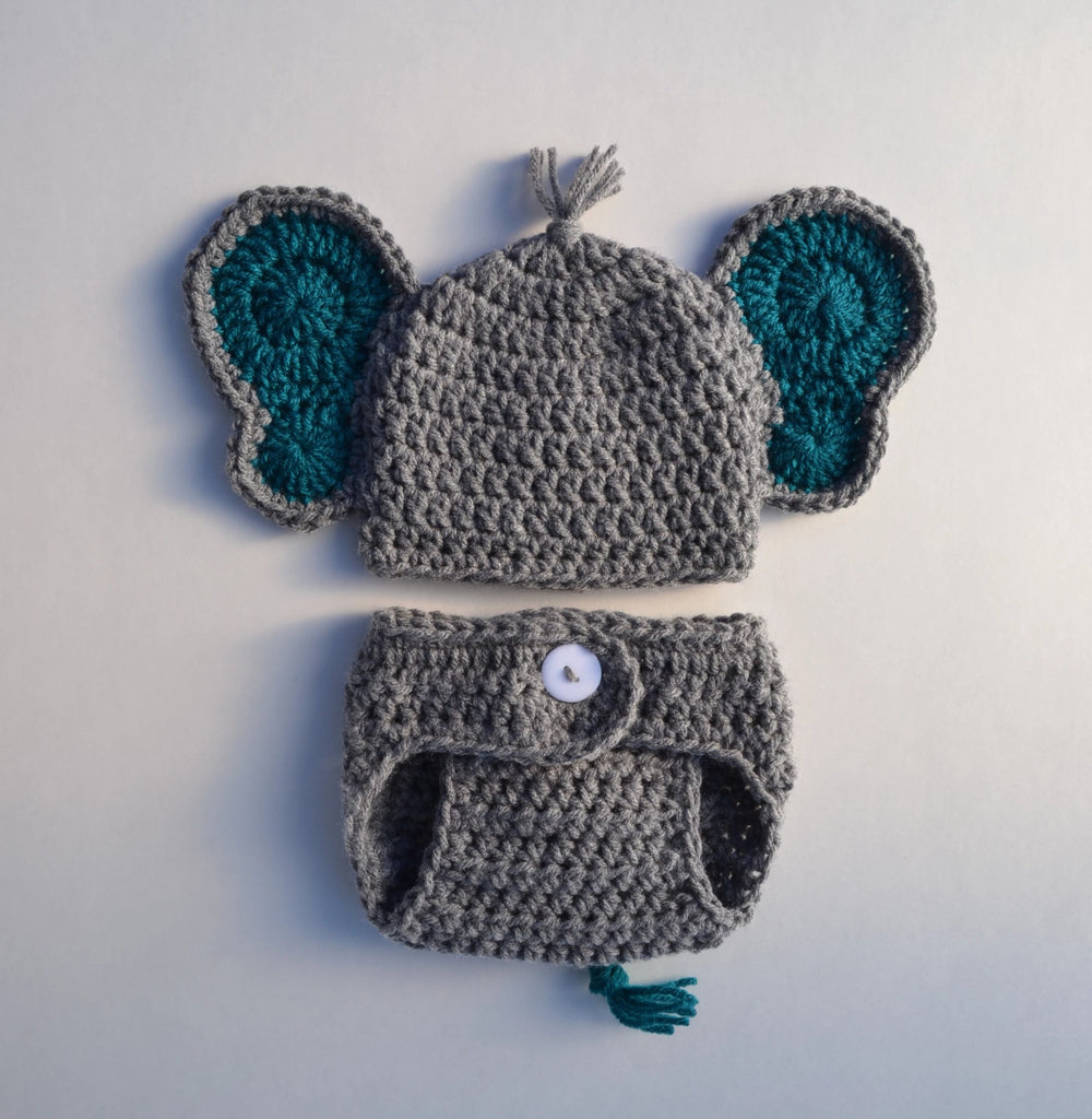 Baby Crochet Elephant Outfit Newborn Boy Photo Prop