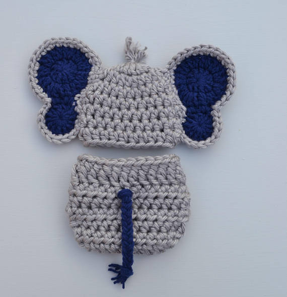 Crochet Elephant Outfit Newborn Baby Photo Prop - kgphotoprops 1c8aa2c34110