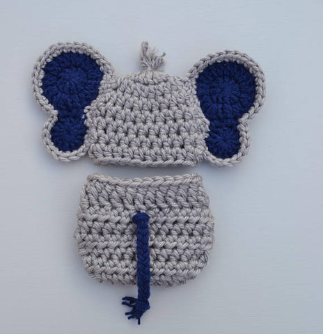 Crochet Elephant Outfit Newborn Baby Photo Prop - kgphotoprops