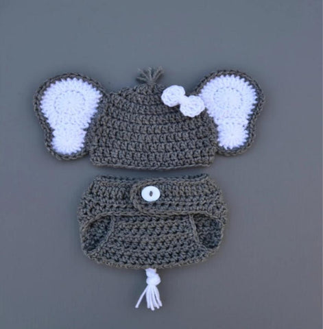 Baby Crochet Elephant Outfit Newborn Boy Photo Prop - kgphotoprops