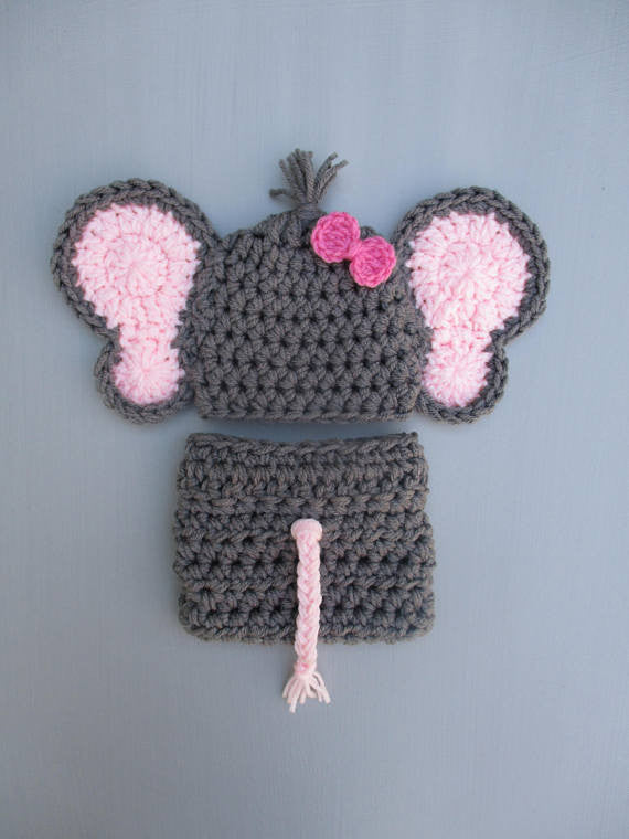 Crochet Elephant Baby Girl Outfit Dark Grey Newborn Photo Prop - kgphotoprops