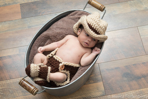 Crochet Newborn Baby Cowboy Outfit Baby Photography Prop