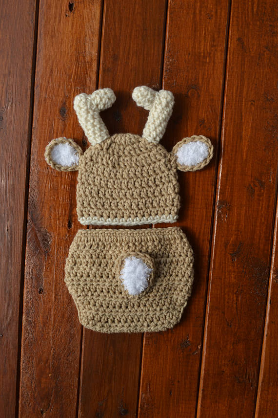 Crochet Baby Deer Outfit Newborn Deer Photo Prop Outfit - kgphotoprops