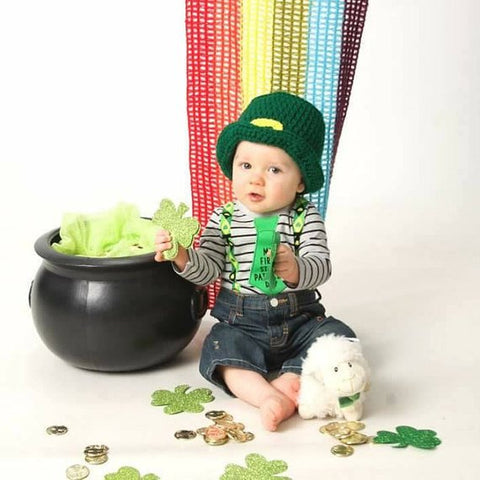 Crochet St. Patrick's Day Set Leprechaun Hat Bow Tie Handmade Newborn Photo Outfit Photography Prop