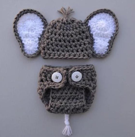Baby Crocheted Elephant Outfit Newborn Boy Photo Outfit Photo Prop - kgphotoprops