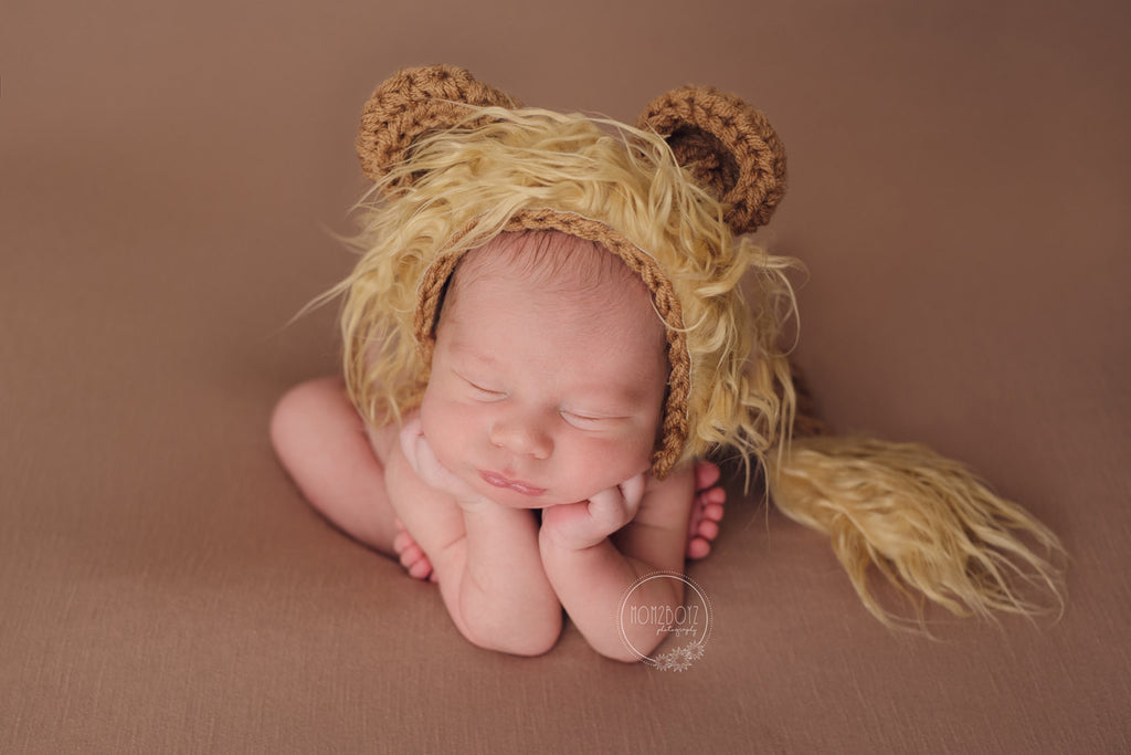 Lion Bonnet And Tail Set Newborn Baby Photography Props - kgphotoprops