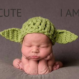 Crochet Green Baby Yoda Hat Newborn Photography Props - kgphotoprops