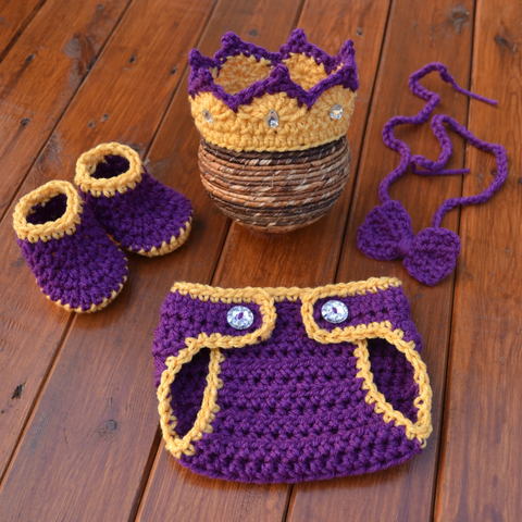 Crochet Baby Prince Set For Photo Prop