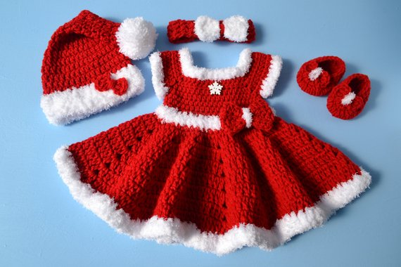 Crochet Newborn Baby Girl Christmas Santa Dress Outfit Set Baby Photo Prop Newborn Photo Outfit Girl Baby Girl Red Dress - kgphotoprops