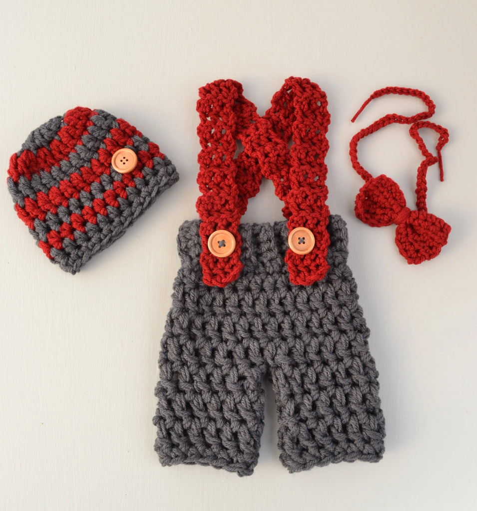 Grey Crochet Baby Boy Photo Outfit Overalls Newborn Photography Prop
