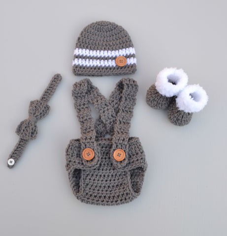Newborn Boy Crochet Photo Outfit Baby Photography Prop - kgphotoprops