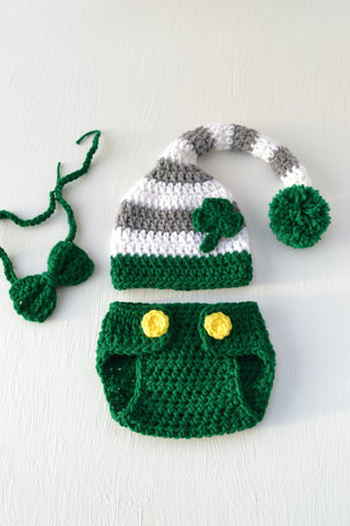 Green St Patrick's Day Newborn Baby Crochet Outfit for Photo Prop - kgphotoprops