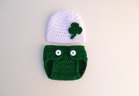 Newborn Baby St. Patrick's Day Shamrock Beanie Diaper Cover Set  for Photo Prop