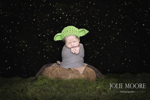 Crochet Baby Yoda Hat Newborn Photo Prop - kgphotoprops