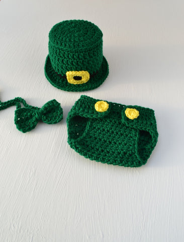 Crochet Baby St Patrick's Day Outfit Infant Newborn Baby Beanie Leprechaun Hat Bow Tie Diaper Cover Handmade Newborn Photo Outfit Photography Prop - kgphotoprops