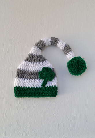 Crochet Newborn Baby St. Patrick's Day Shamrock Stocking Hat for Photography Prop - kgphotoprops